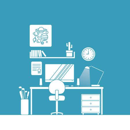 Desk setup and furniture illustration