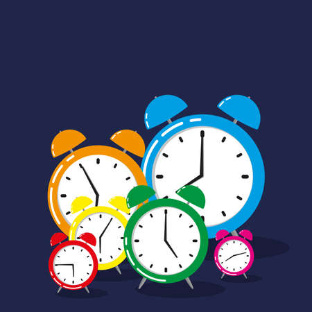 Group of Classic Alarm Clocks with different times isolated on dark blue