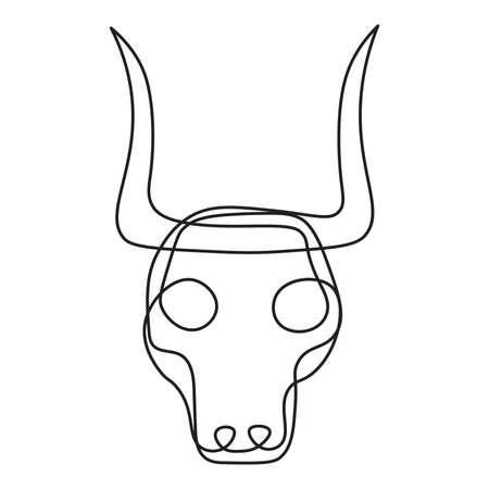 Bull tribal mask continuous single line style isolated on white Иллюстрация