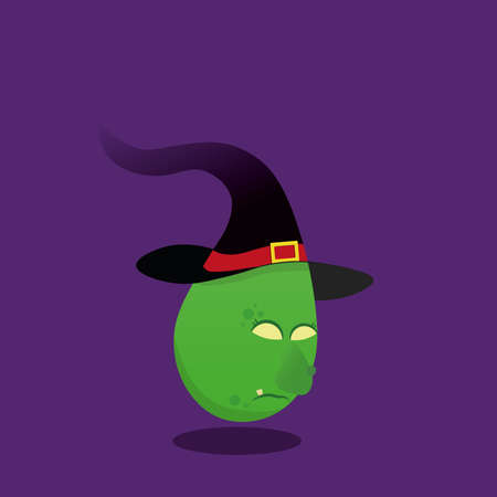 Halloween Witch character isolated on purple background