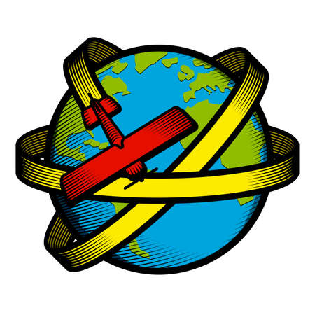 icon that expresses the concept of travel around the world (retro style)