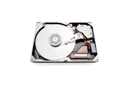 Computer opened Hard drive isolated on white