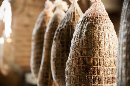 bagged: Salami hanging for seasoning