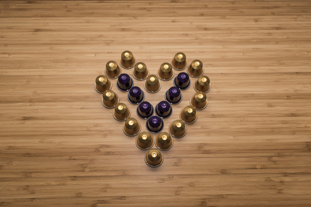 tilt view: A heart shape made by coffee capsules