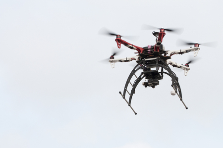 Drone is flying hight in the sky