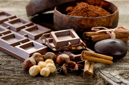 chocolate with ingredients Stock Photo - 8909659