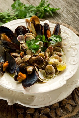 mussel and clam soup photo