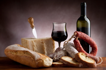 italian salami parmesan cheese bread and wine Stock Photo - 8909656