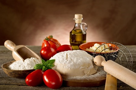 meal preparation: ingredients for homemade pizza