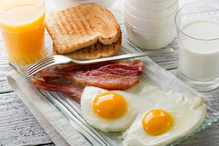 eggs with bacon for breakfast photo