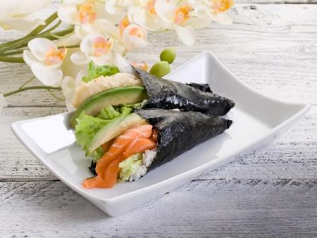 tempura and sake temaki photo