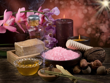 spa and aromatherapy concept with blur effect photo