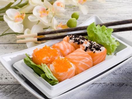 japanese meal: sushi sakura maki chopsticks
