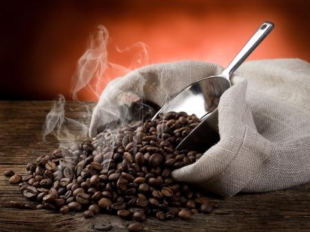 granos de cafe: granos de café tostados calientes