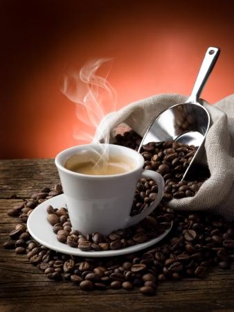 coffe bean: caff� caldo  Archivio Fotografico