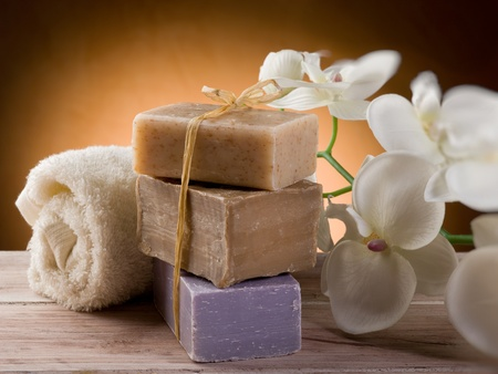 handmade soap: natural soap with towel and flower Stock Photo