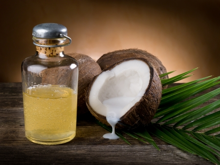 with coconut: natural coconut walnut oil Stock Photo