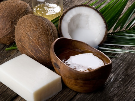 natural coconut walnut oil and soap Stock Photo - 9555906