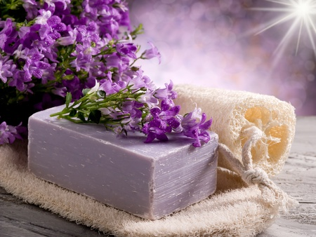 natural flower soap with scrub sponge photo