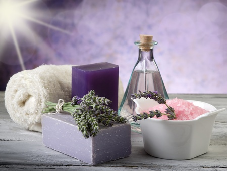 lavender with bath product photo