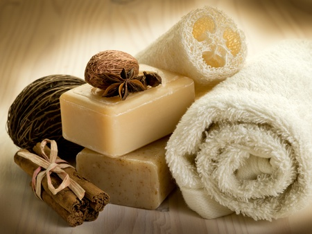 soap épices naturelles avec accessoires de bain