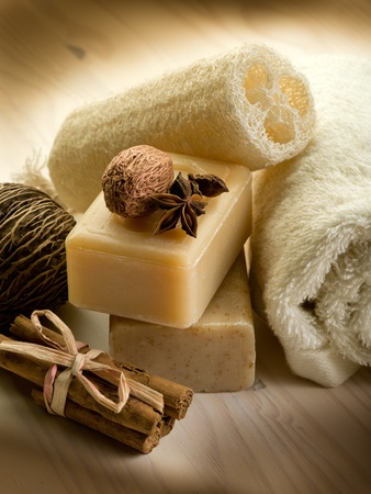 natural spices soap with bath accessories photo