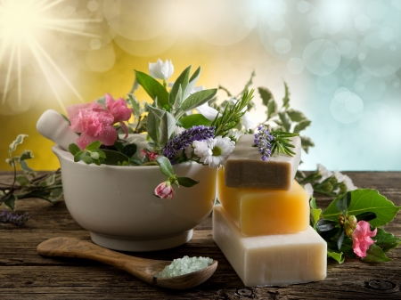 mortar and pestle: Natural Herbal Products-Spa cosmetics