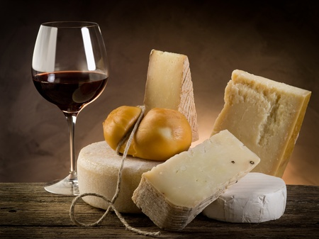 cheese slices: red wine and cheese Stock Photo
