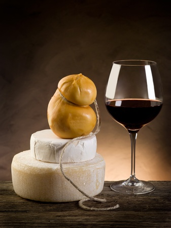 scamorza cheese: red wine and cheese Stock Photo