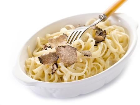 white truffle: tagliatelle with truffle and cream sauce