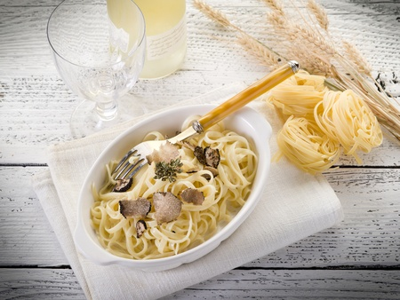 truffles: tagliatelle with truffle and cream sauce