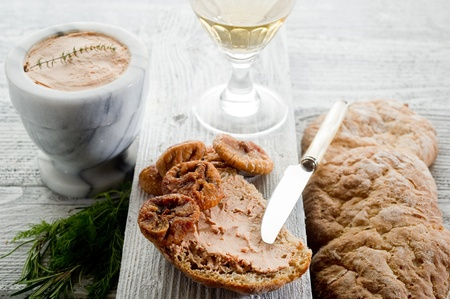 pate: bread with pate and dried figs Stock Photo