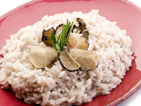 truffle: rice with truffle over red dish