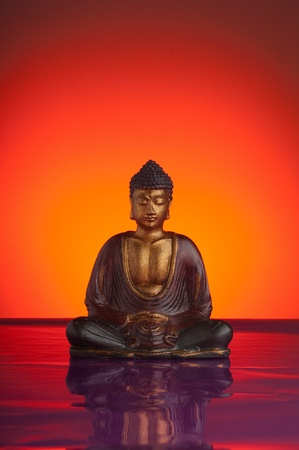 budda with red background  Stock Photo - 10217588