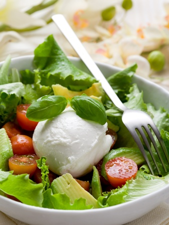whole mozzarella with green salad,tomatoes and avocado photo