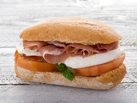 ham sandwich: sandwich with parma ham mozzarella and tomatoes