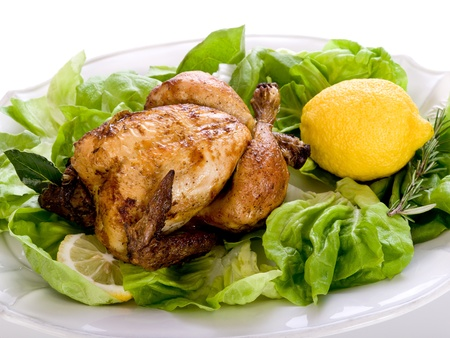 roast potatoes: chicken with green salad