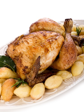 oven chicken: chicken roasted with potatoes
