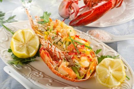 lobster dinner: catalan lobster- aragosta alla catalana Stock Photo