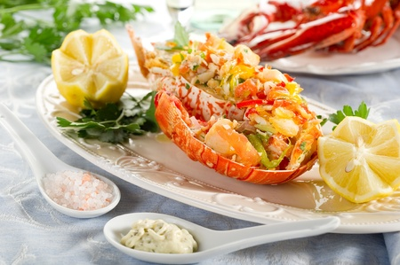 lobster tail: catalan lobster- aragosta alla catalana Stock Photo