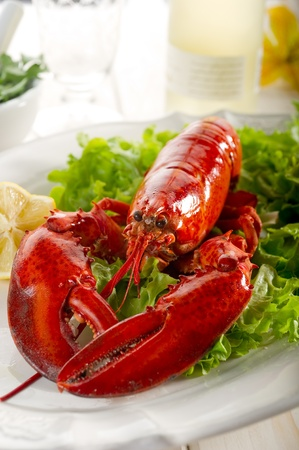 lobster tail: whole lobster with salad - aragosta e insalata