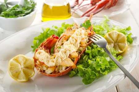 lobster isolated: lobster with mayonnaise sauce- Aragosta con maionese Stock Photo