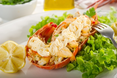lobster with mayonnaise sauce- Aragosta con maionese Stock Photo