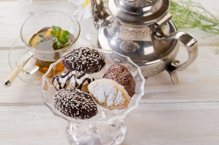 variety of biscuit over  bowl  and tea Stock Photo - 10242449