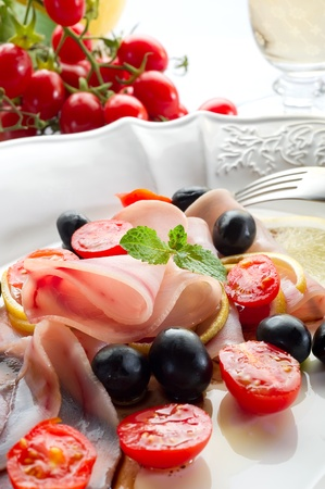 swordfish carpaccio with sliced tomatoes Stock Photo - 10243180