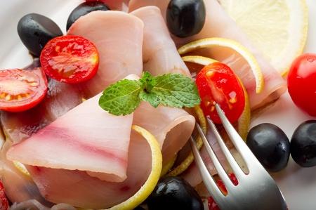 swordfish carpaccio with sliced tomatoes Stock Photo - 10243171