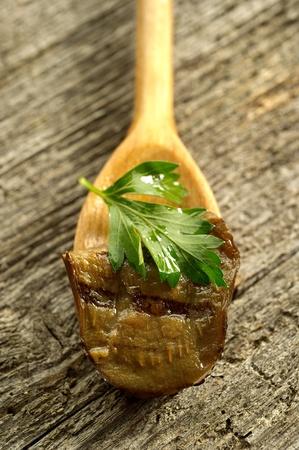grilled preserved eggplants photo