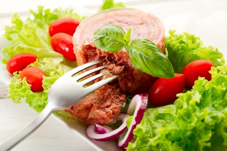 canned meat: canned meat with salad Stock Photo
