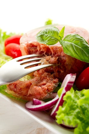 canned: canned meat with salad Stock Photo