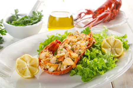 lobster with salad  photo